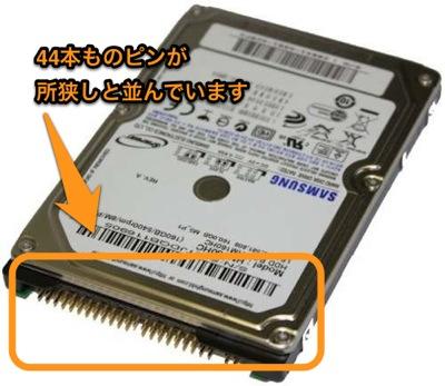 IDE方式2.5インチのHDDの接続端子の写真。端子は電源用とデータ用が共用。ピンが44本ある。