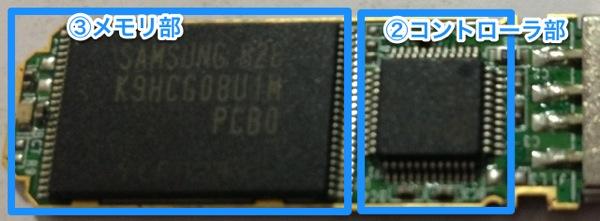 USBメモリのICチップ部分